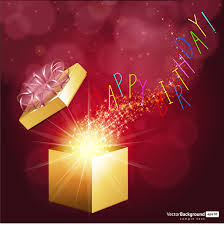 birthday card design with twinkling magical gift box free vector