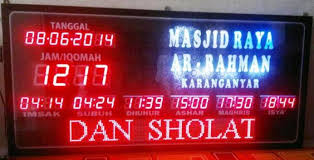 membuat jam digital led besar pusat jam jadwal sholat digital masjid ukuran besar jumbo