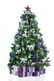 tree decorated in purple and silver home design and