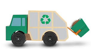 amazon com melissa u0026 doug garbage truck wooden vehicle toy 3 pcs