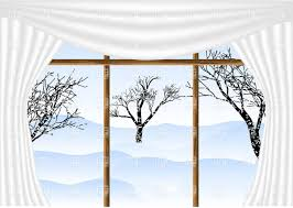Winter Window Curtains View From Window With White Curtains With Winter View And Leafless