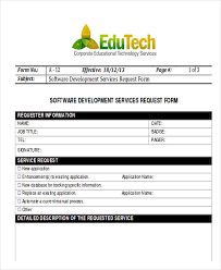 Service Request Template Excel Sle Software Request Form 9 Exles In Word Pdf