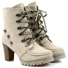womens boots heels trendy lace up and rivets design chunky heel boots for