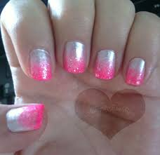 silver and pink gradient tip nail design nails pinterest