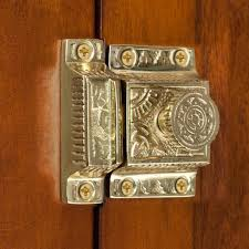 solid brass cabinet latch with flower knob hardware