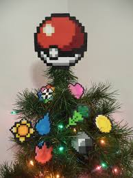 pokeball perler bead tree topper by lightercases