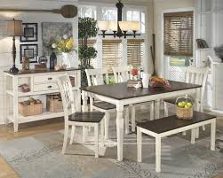 Ashley Dining Room by Whitesburg Table 4 Side Chairs U0026 Bench D583 00 02 4 25