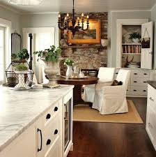 Living Room And Family Room Combo by White Stone With Old Chicago Brick Fireplace Kitchen Family Room
