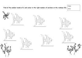 number bonds of 6 worksheet rainbow fish theme by rosiefrancesca