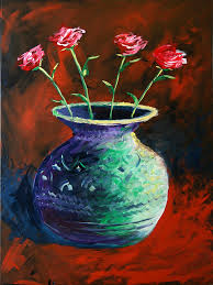 Acrylic Flower Vases Large Abstract Roses In Vase Painting Painting By Mark Webster