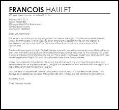 restaurant resignation letter resignation letters livecareer
