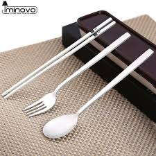 Kids Kitchen Knives by Aliexpress Com Buy Iminovo Chopsticks Spoon Kitchen Cutlery Set