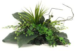 creative branch faux ivy hosta and grass desk top plant in