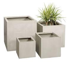 stone fibrecotta cube planter 3 sizes indoor outdoor plant pot