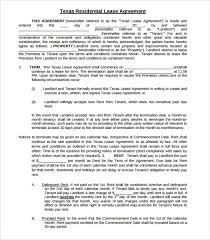 sample texas residential lease agreement 7 documents in pdf word