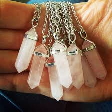 natural quartz crystal necklace images Reduced rose quartz crystal point necklace 30 quot necklace bohemian jpg
