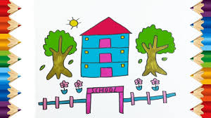 teach drawing for kids coloring house and tree with color
