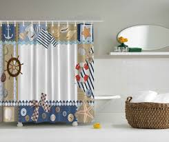 nautical themed shower curtain ship wheel sea shells anchor