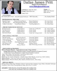 Special Skills Theatre Resume Resume Special Skills Examples
