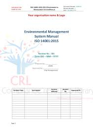 iso 14001 2015 managment system manual sample