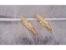 feather stud earrings solid gold feather stud earrings