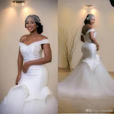 elegant african off shoulder mermaid wedding dresses 2017 beading