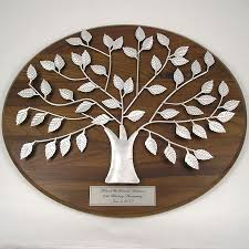 25th anniversary plates personalized personalized silver family tree plaque 25th anniversary gift