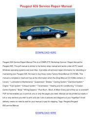 peugeot 605 service repair manual by sandrarobson issuu