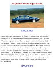 Peugeot 605 Service Repair Manual By Sandrarobson Issuu