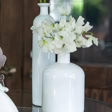 Single Stem Glass Vase Decorative White Glass Bottle Vases In Assorted Sizes Set Of 3