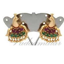 gold earring studs designs peacock multi earring design ear stud traditional indian