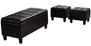 furniture black tufted rectangular leather storage ottoman for