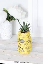 diy succulent planter painted mason jar pineapple with video