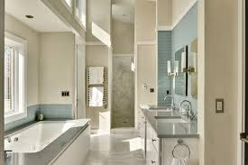 seafoam green tile with subway tile bathroom contemporary and top