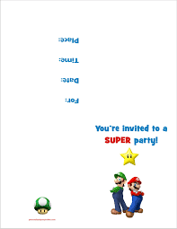 halloween party invitation templates printable super mario bros free printable birthday party invitation
