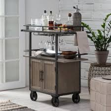 industrial iron wood kitchen trolley natural black buy kitchen bar carts hayneedle