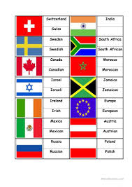 Flags Of Countries Flags Countries Nationalities Matching Activity Worksheet Free