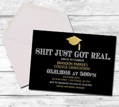 graduation graduation invitation just got real black and