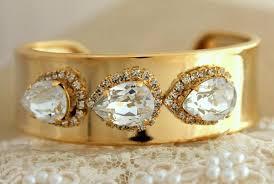 crystal rhinestone cuff bracelet images Gold rhinestone cuff swarovski crystal 14k gold by iloniti on zibbet jpg