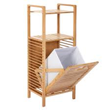 meubles en bambou etagère armoire meuble pour salle de bain en bambou 132x35x33cm