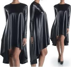 plus size black faux leather long sleeve hi lo mini midi swing