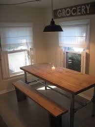 industrial kitchen table furniture rustic wood and metal dining table foter