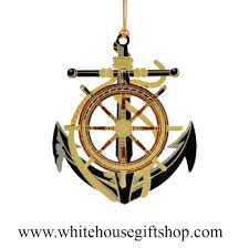 anchor and wheel ornament 3 d 24kt gold plated white house gift
