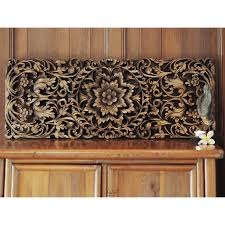 carved wood wall floral carved wooden wall panel siam sawadee