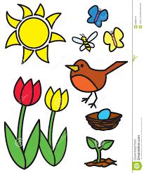 cartoon springtime items and animals stock image image 23888141