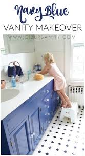 navy blue vanity makeover white vanity enamel paint and vanities