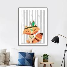 tableau deco chambre enfant décoration poster toile renard aventurier indien trendisy
