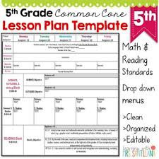 Weekly Lesson Plan Template Common by 5th Grade Common Lesson Plan Template By Math Tech Connections