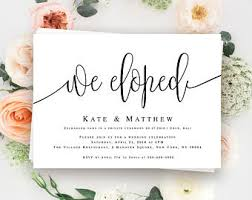 post wedding reception invitation wording elopement invite etsy