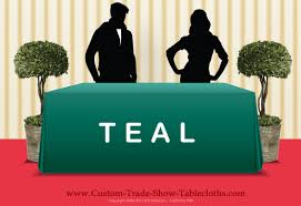 Logo Table Cloth by Trade Show Table Cover Teal With One Color Logo Screen Printed